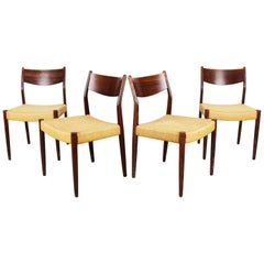 Set of Four Dutch Dining Chairs in Rosewood and Papercord by Pastoe Brown Beige