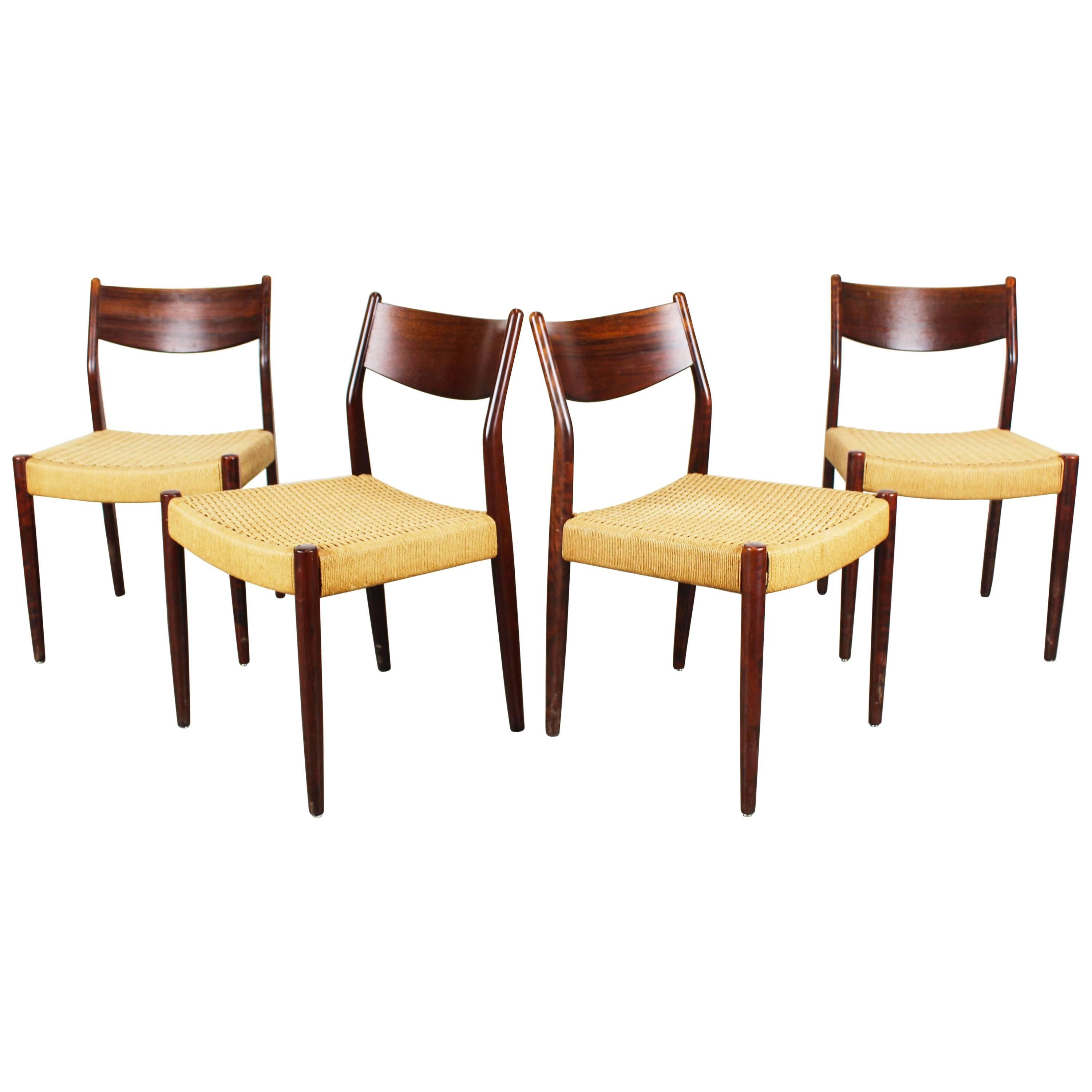set of four dutch dining chairs in rosewood and papercord by pastoe brown beige 1