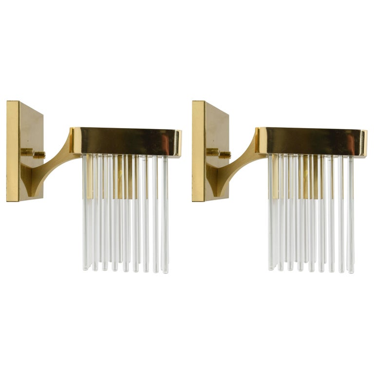 Pair of Sciolari Brass and Glass Rods Waterfall Sconces