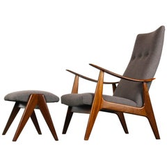 Louis Van Teeffelen Lounge Chair and Ottoman for Webe, 1960, Grey and Brown
