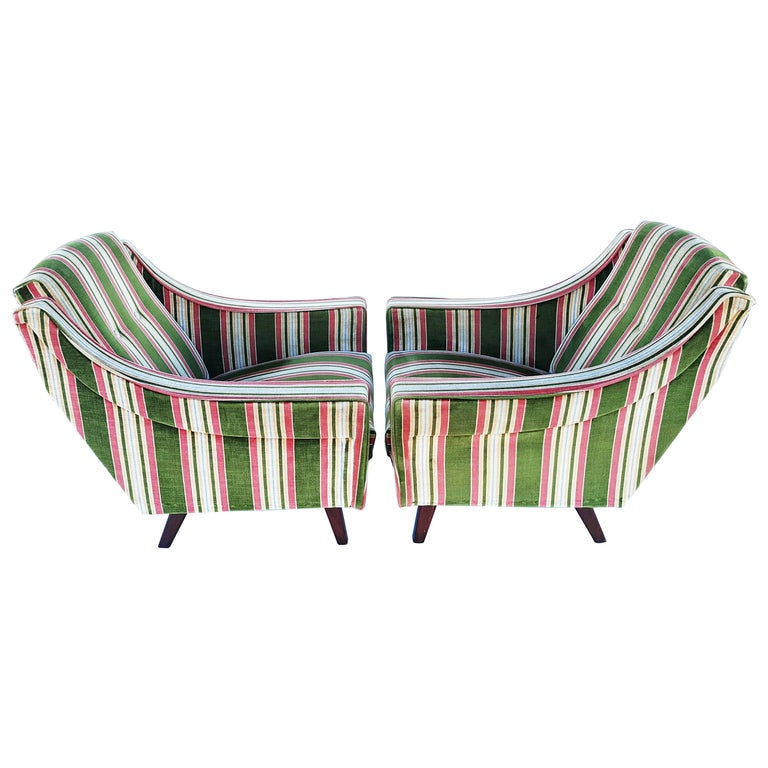 Rare Pair of 1950s, Italian Armchairs in the Style of Gio Ponti