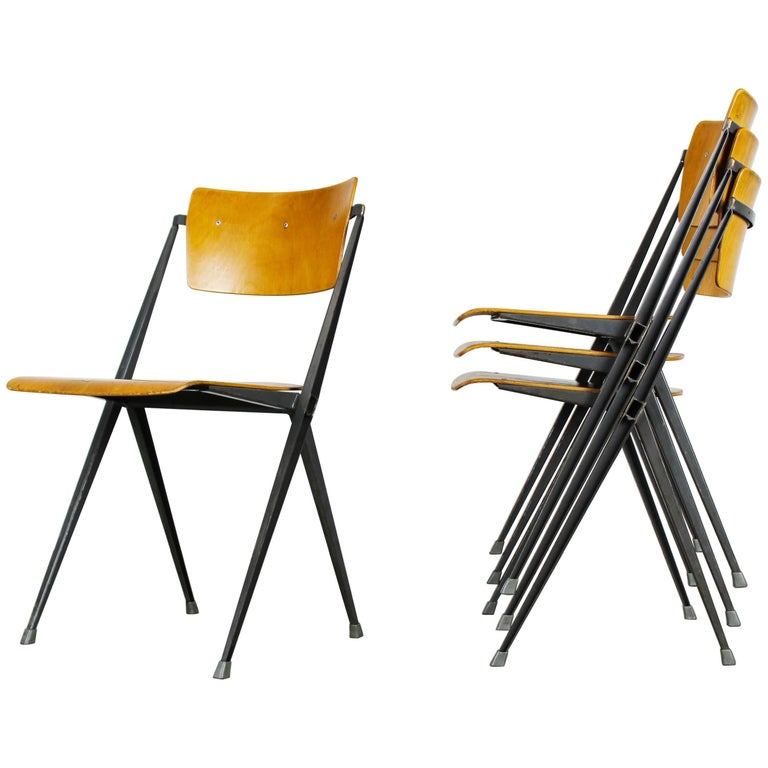 Set of Four Pyramid Chairs Designed by Wim Rietveld for Ahrend de Cirkel, 1963