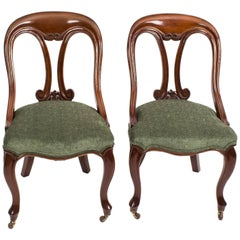 19th Century Pair of Victorian Mahogany Fiddle Back Side Chairs