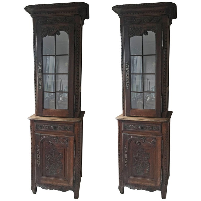 Pair or Early 19th Century Louis XV Style Biblioteque For Sale