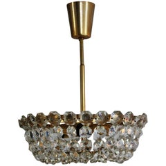 Fine Brass and Crystal Chandelier by Bakalowits & Soehne, Austria, circa 1960s