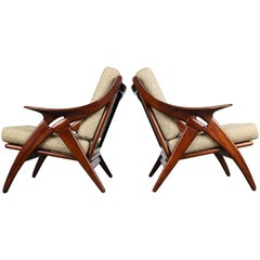 Set of Two ''De Knoop'' Teak Lounge Chairs by De Ster Gelderland, 1960