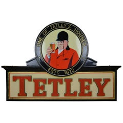 1960s Vintage Tetley Beer Outdoor Advertising Sign