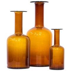 Otto Breuer for Holmegaard Glass Bottle Set of Vases