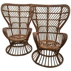 Rattan Chairs by Lio Carminati for Bonacina, Italy, 1940s