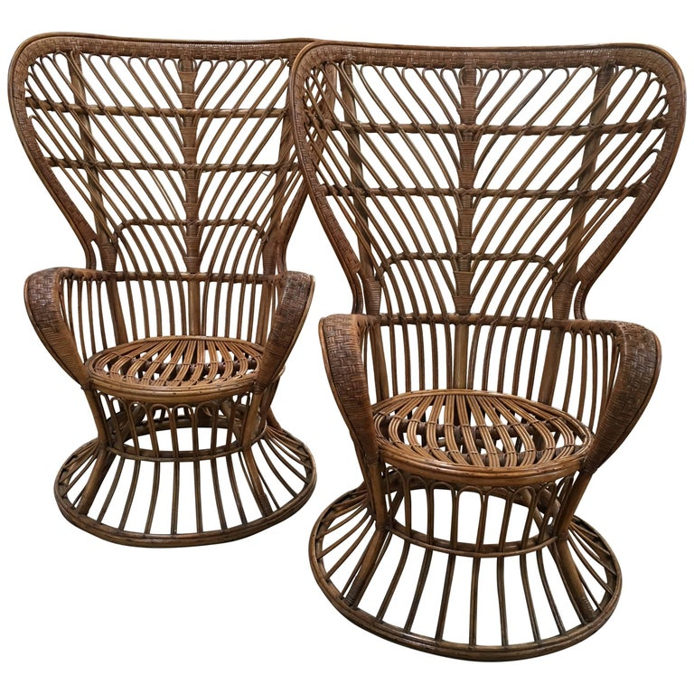 Pair of Italian Rattan Chairs from 1940s by Lio Carminati for Bonacina For Sale