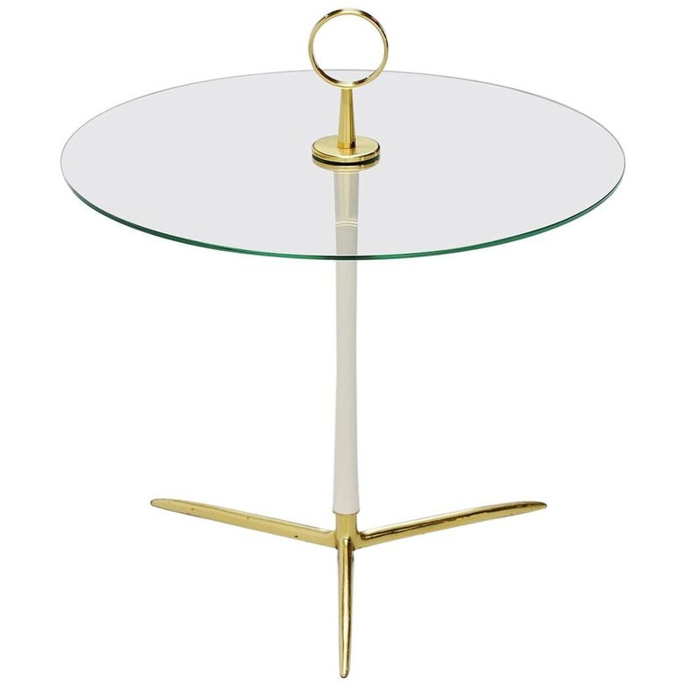 Cesare Lacca Tripod Side Table Brass, Italy, 1950