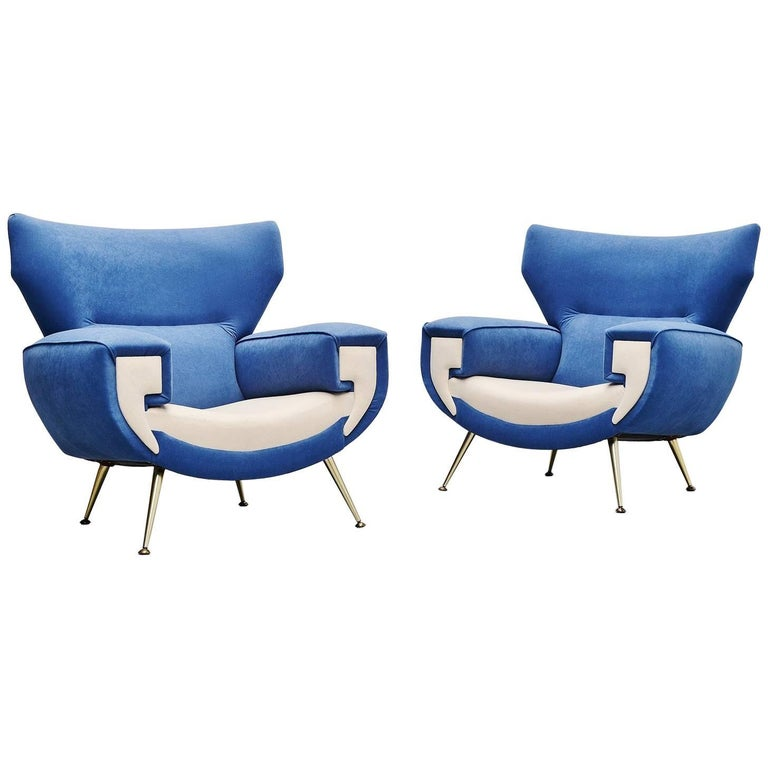 Large Italian Club Chairs in Velvet Upholstery, Italy, 1960 For Sale