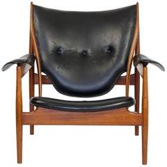 Finn Juhl 'Chieftain Chair' for Niels Vodder in Original Black Leather, 1949