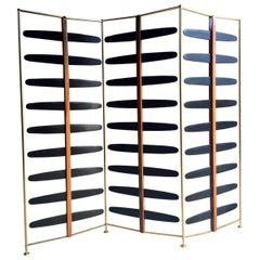 French Room Divider Three-Section Screen Midcentury Brass, 1950s