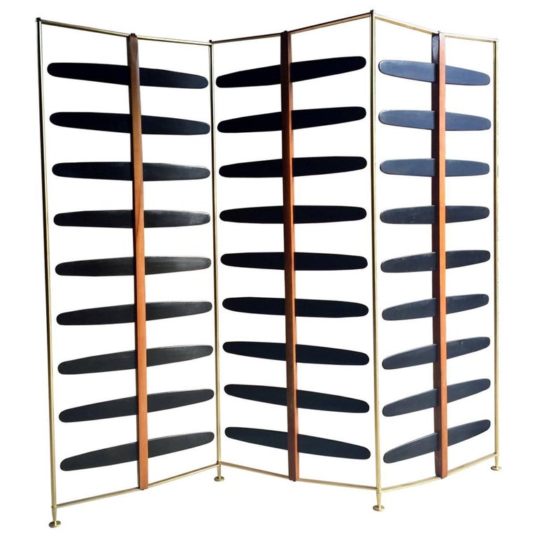 French Room Divider Three-Section Screen Midcentury Brass, 1950s For Sale