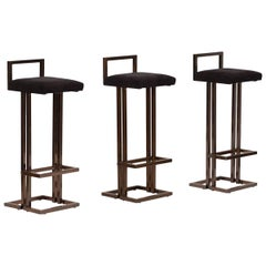 Set of Three Maison Jansen Bar Stools
