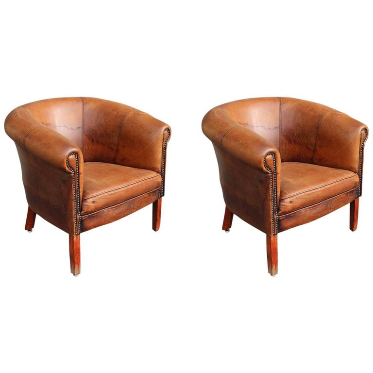 Two Club Brown Leather Armchairs, Italy