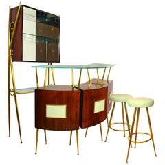 1950s Dry Bar Cabinet, counter and benches set in the style of Gio Ponti. Italy