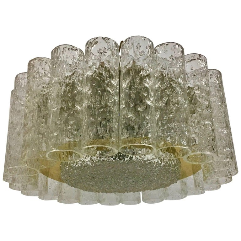 Petite Midcentury Doria Glass Tube Ice Glass Flush Mount 1