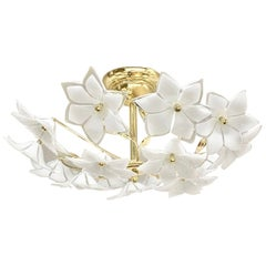 Stunning Flower Glass Italian Wall Light or Flush Mount