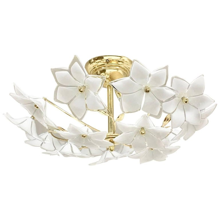 Stunning Flower Glass Italian Wall Light or Flush Mount For Sale