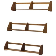 Set of 1950s Danish Wall Shelves in Oak by Hans J. Wegner for Ry Møbler