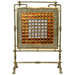 Antique Brass and Leaded Glass Fire Screen