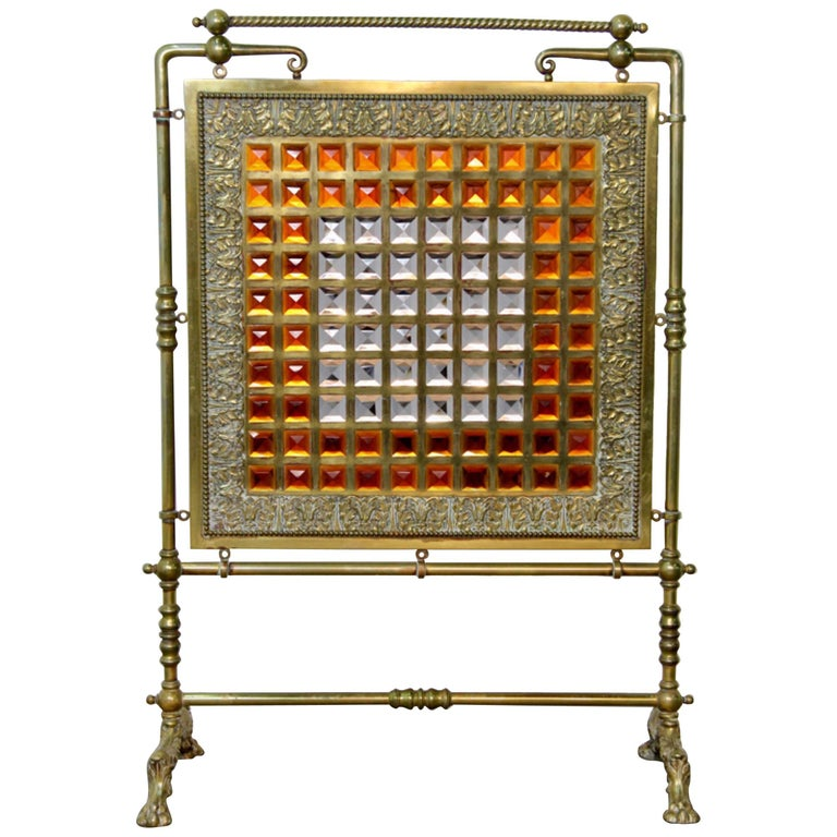 Antique Brass and Leaded Glass Fire Screen For Sale