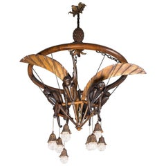 Monkey's Chandelier in Carved Wood, Gilt Iron and Glass Beads, Art Deco Period