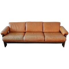 Brown Leather Sofa Model 'BZ74' by Martin Visser for T Spectrum, 1960s-1970s