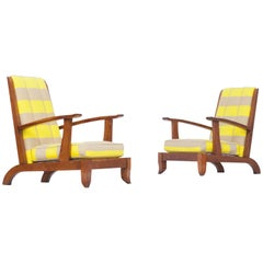 Important Pair of 1930's French Lounge Chairs