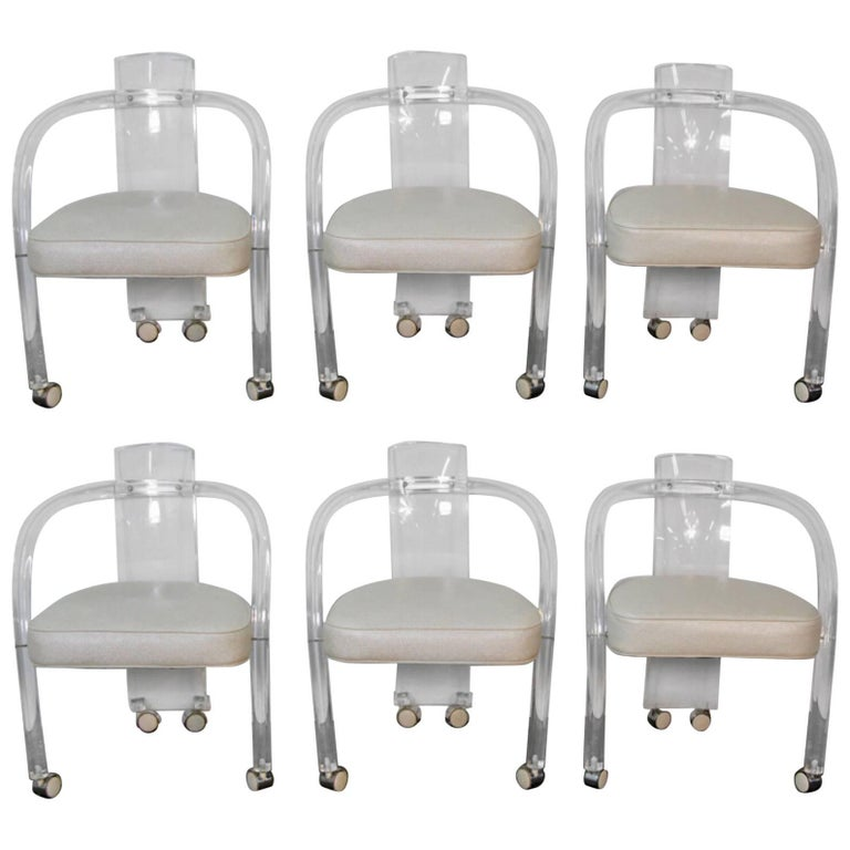 Set of Six Midcentury Lucite Chairs For Sale