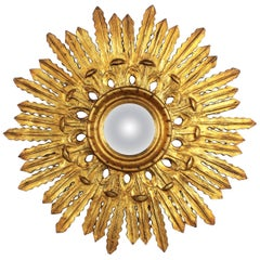 1920s Spanish Baroque Style Carved and Gold Giltwood Sunburst Convex Mirror