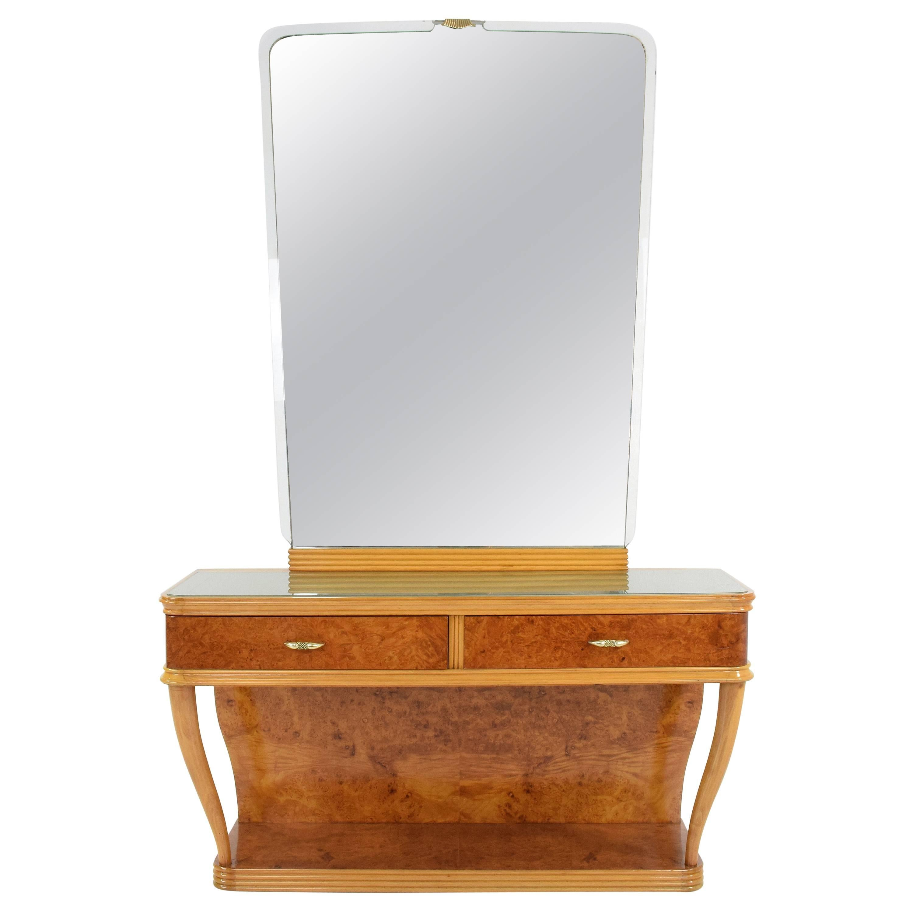 20th Century Italian Vintage Dressing Table and Mirror, 1950s
