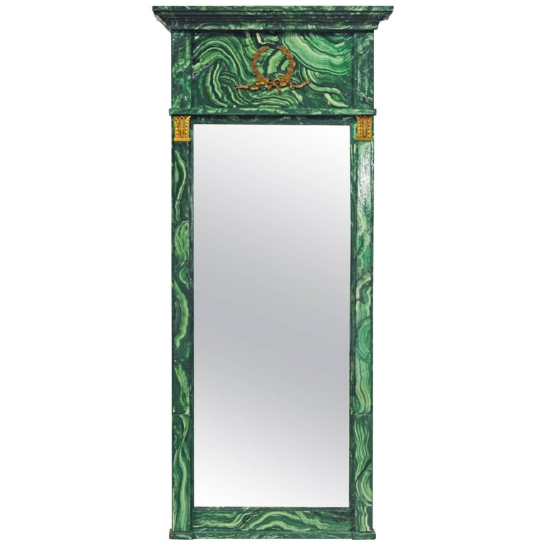 Spectacular French Neoclassical Style Malachite Painted & Bronze Mounted Mirror For Sale
