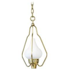 1950s Brass and Opaline Pendant Light by Hans Bergström for ASEA, Sweden