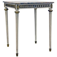 French Louis XVI Style Painted and Bronze Mounted Marble Top Occasional Table