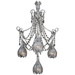 Silver Plated and Cut-Glass Electrolier by F&C Osler