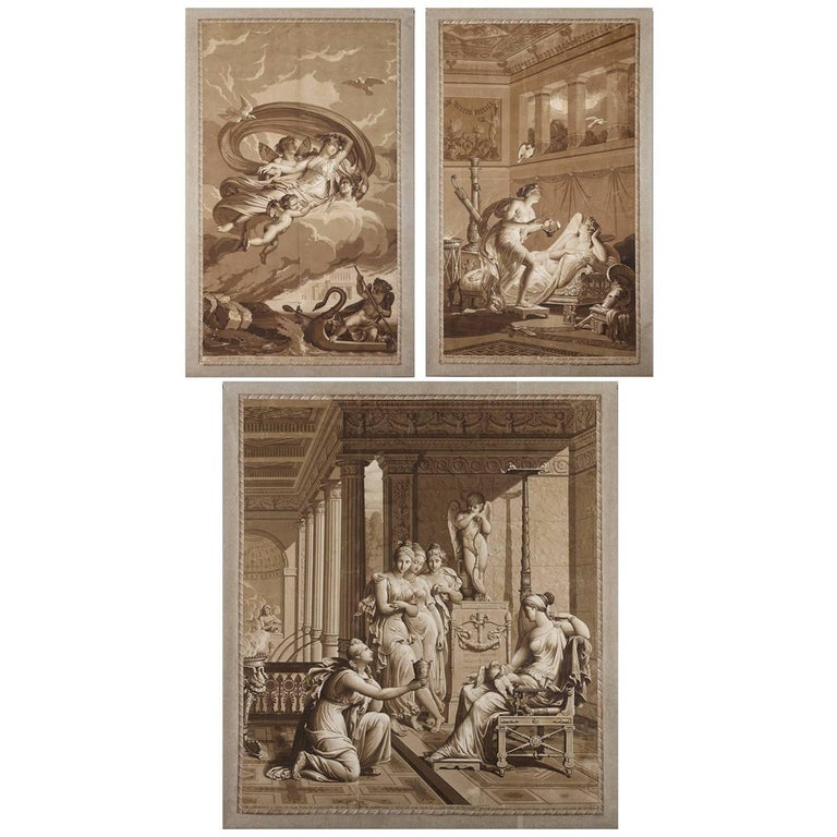 Early 19th Century Rare Panoramic Wallpaper the Story of Psyche