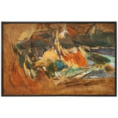 Large Abstract Painting on Canvas from Sweden, circa 1960