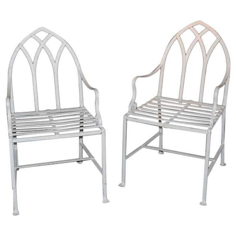 Pair of Gothic Iron Indoor/Outdoor Chairs For Sale