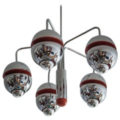 Great Kaiser Chrome Orange Space Age Ceiling Chandelier from 1960s