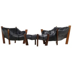 Brazilian 1970s Percival Lafer Lounge Chairs & Ottoman Jacaranda & Black Leather