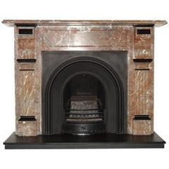 Irish 19th Century Victorian Breche Marble Fireplace Surround