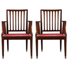 Pair of 19th Century Mahogany Rail Back Elbow Chairs
