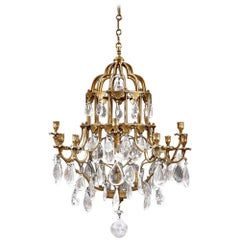 Early 20th Century French Twelve-Armed Bronze and Rock Crystal Chandelier
