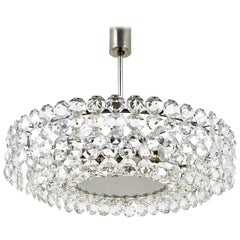 Large Bakalowits Nickel Chandelier with Diamond-Shaped Crystals, Austria, 1960s