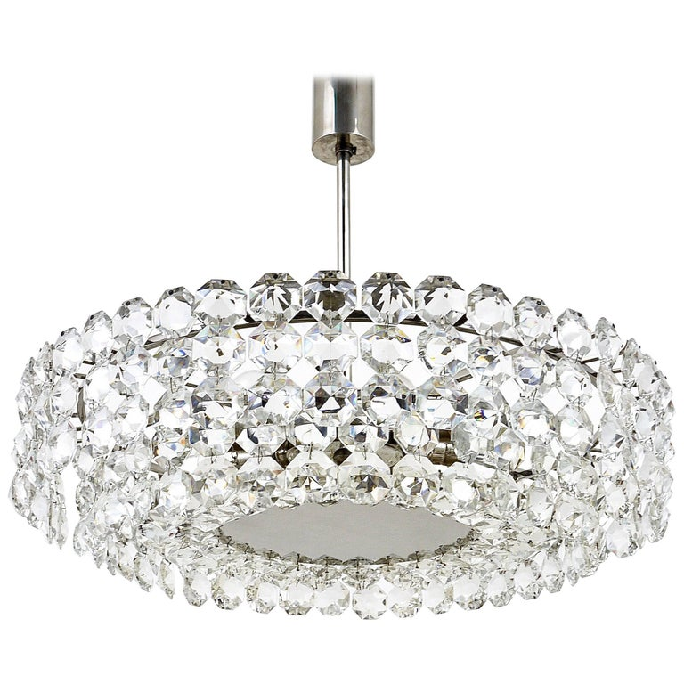 Large Bakalowits Nickel Chandelier with Diamond-Shaped Crystals ...