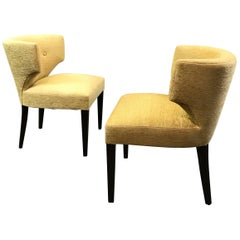Pair of Hollywood Regency Upholstered Klismos Slipper Chairs