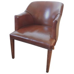 Antique French Leather Armchair with Wood Square Legs